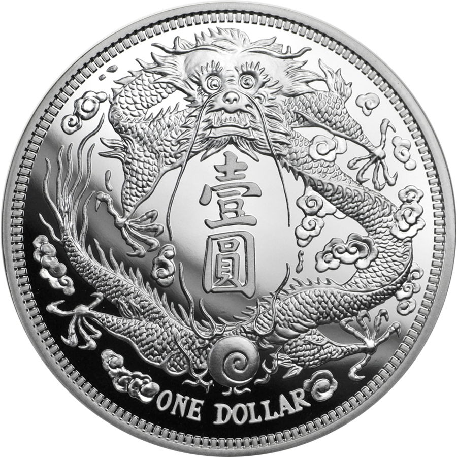 2019 Chinese Long-Whiskered Dragon Dollar Restrike 1oz Silver Coin (Image 1)