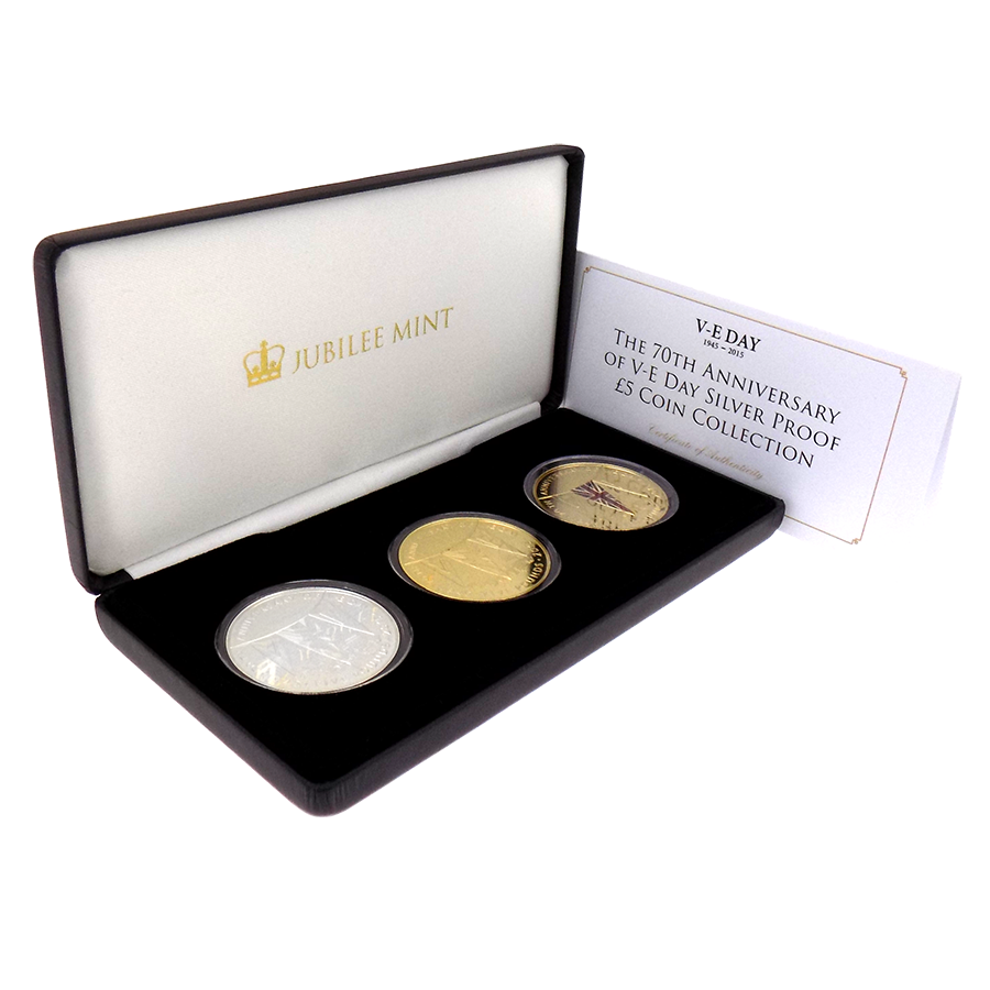Pre-Owned 2015 Tristan da Cunha 70th Anniversary of VE Day Silver Proof 3-Coin Set - VAT Free