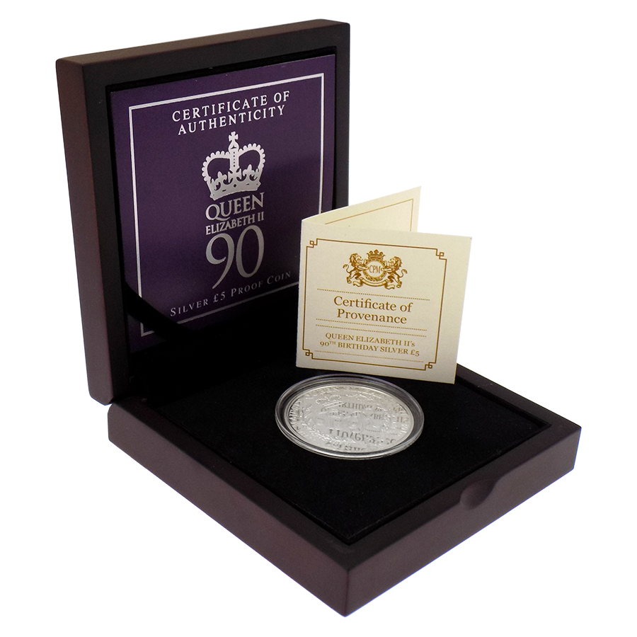 Pre-Owned 2016 Guernsey Queen Elizabeth II 90th Birthday £5 Proof Silver Coin - VAT Free