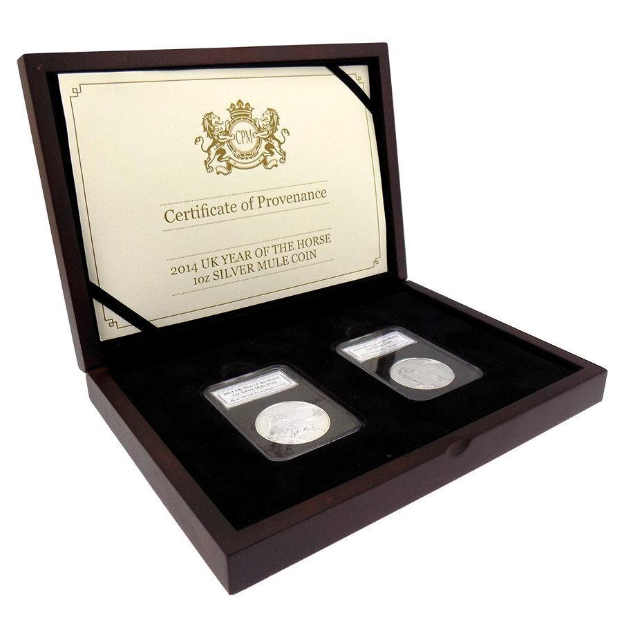 Pre-Owned 2014 UK Year Of The Horse Slabbed 1oz Silver Mule 2-Coin Set - VAT Free