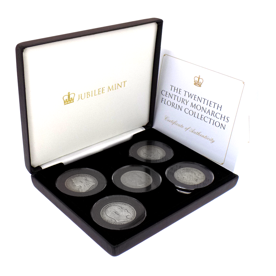 Pre-Owned Twentieth Century Monarchs Florin Silver 4-Coin Collection - VAT Free