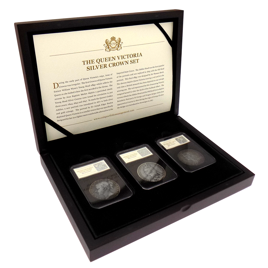 Pre-Owned UK Victoria Silver Crown Three Coin Set - VAT Free