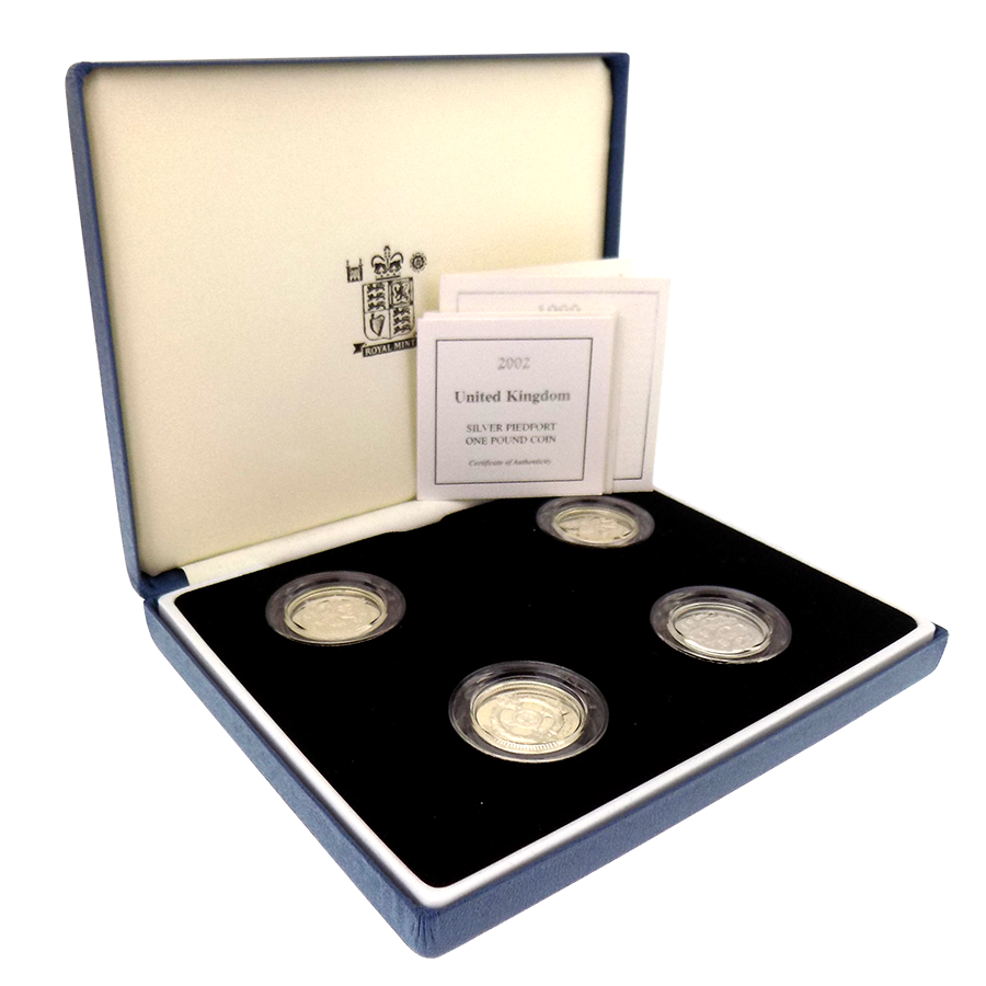 Pre-Owned 1999-2002 UK £1 Silver Piedfort Proof 4-Coin Set - VAT Free