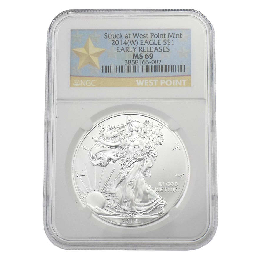 Pre-Owned 2014 USA Eagle West Point 1oz Silver Coin NGC Graded MS 69 - 3858166-087 - VAT Free