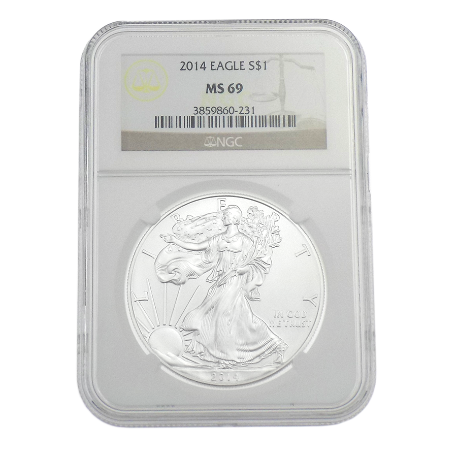 Pre-Owned 2014 Silver Eagle 1oz Coin NGC Graded MS 69 - 3859860-231 - VAT Free