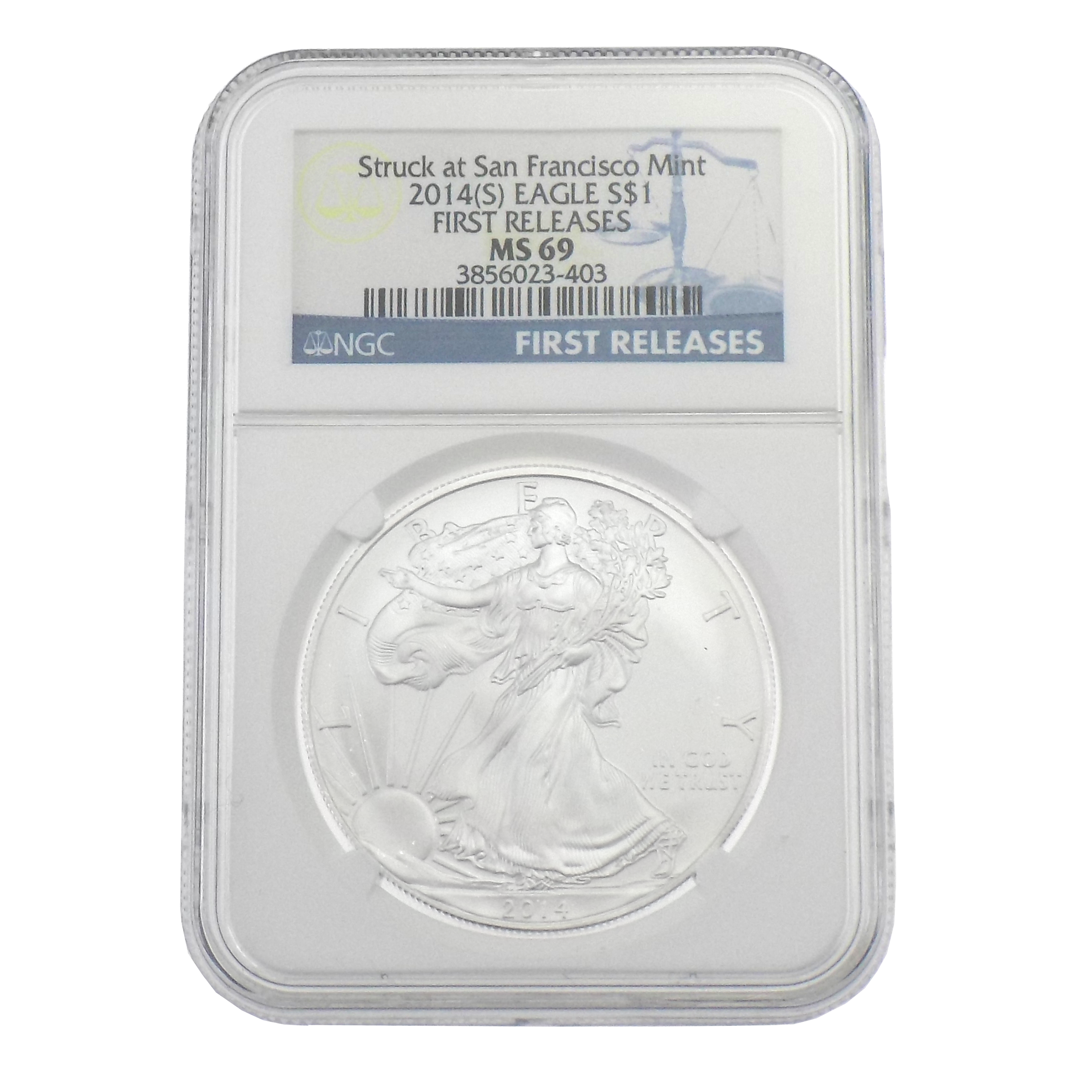 Pre-Owned 2014 USA Eagle San Francisco 1oz Silver Coin NGC Graded MS 69 - 3856023-403 - VAT Free