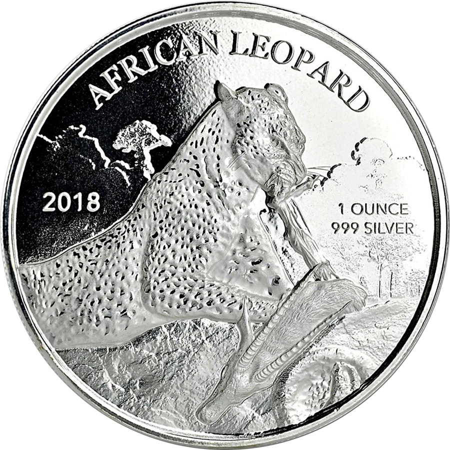 Pre-owned 2018 Republic of Ghana African Leopard 1oz Silver Coin - VAT Free