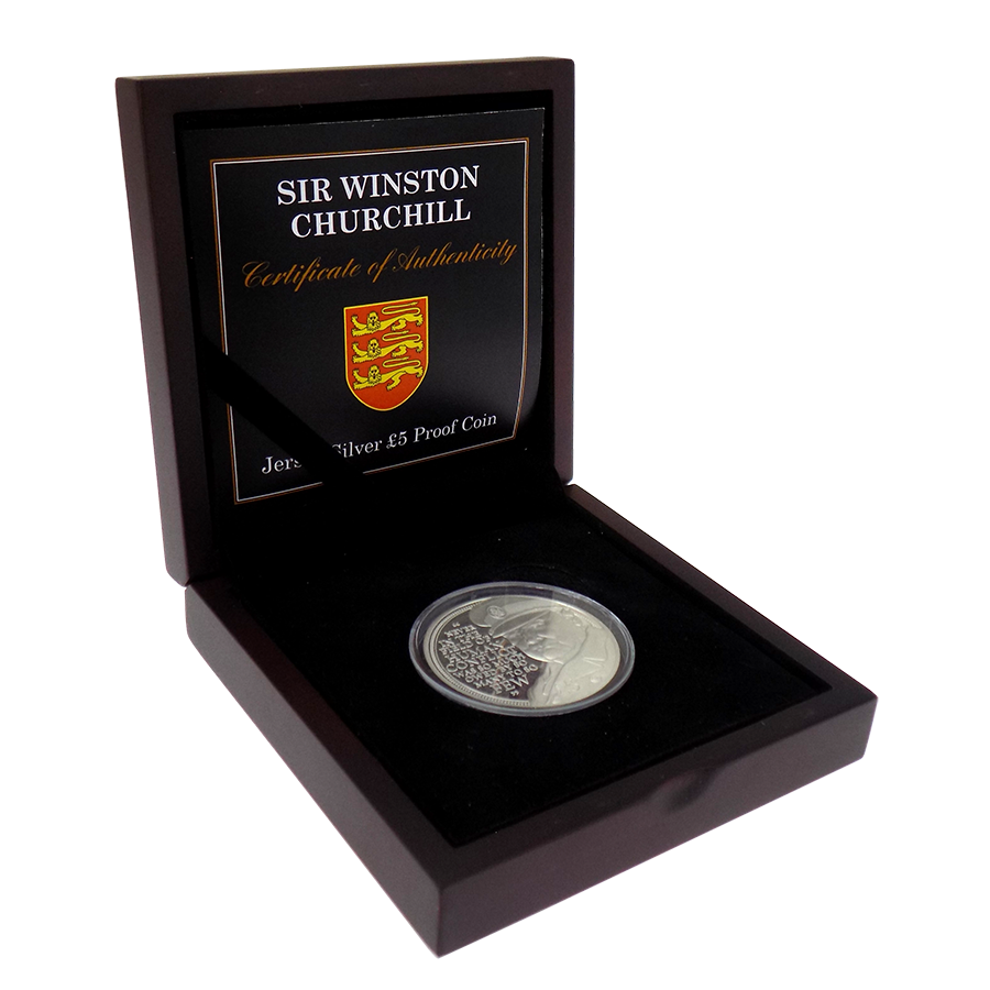 Pre-Owned 2015 Jersey Sir Winston Churchill Proof Silver £5 Coin - VAT Free