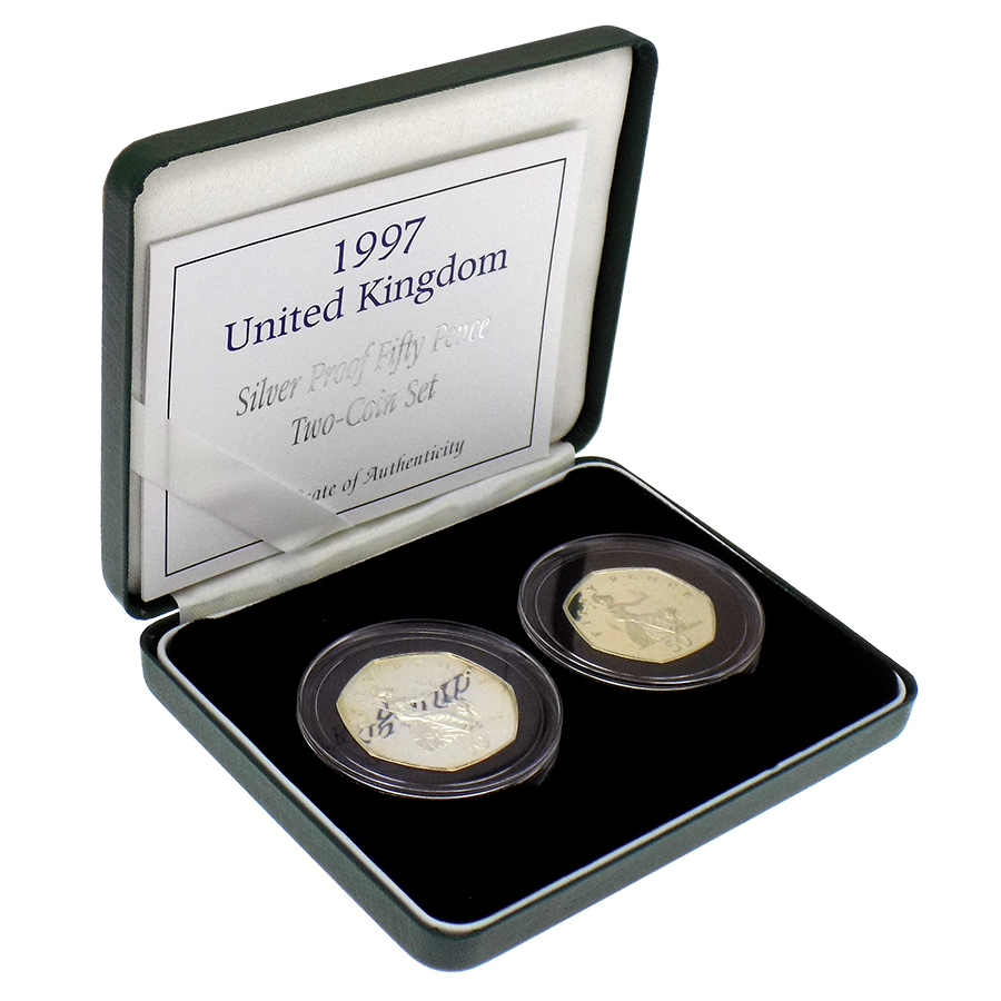 Pre-Owned 1997 UK 50p Silver Proof Two-Coin Set - VAT Free