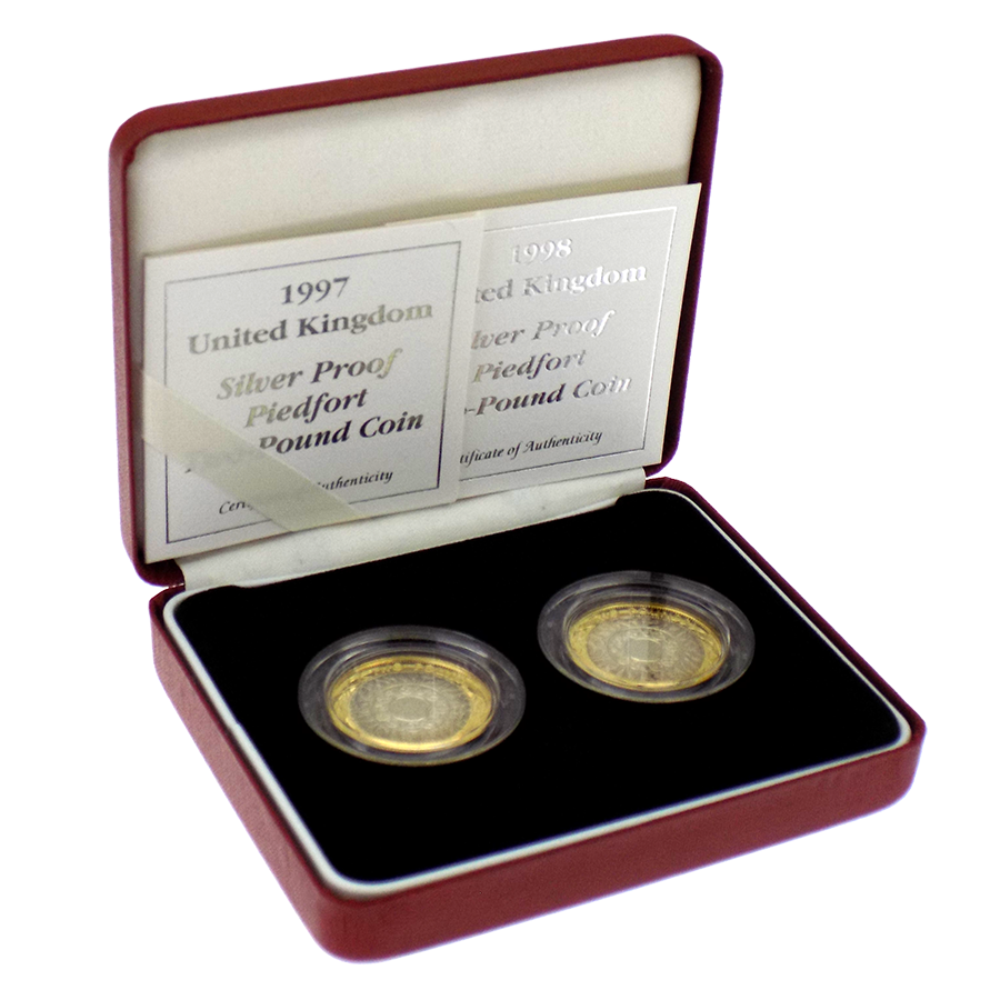 Pre-Owned 1997 & 1998 UK £2 Silver Proof Piedfort 2-Coin Set - VAT Free