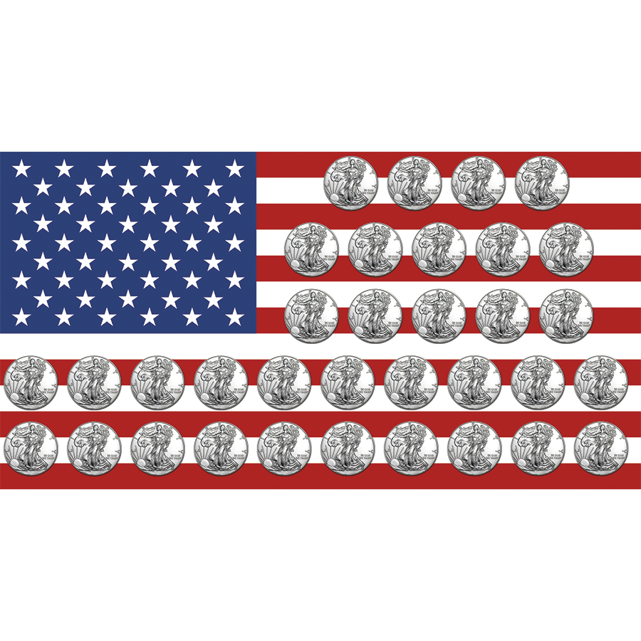 Pre-Owned 1986-2019 USA Eagle 1oz Silver 34-Coin Collection - VAT Free