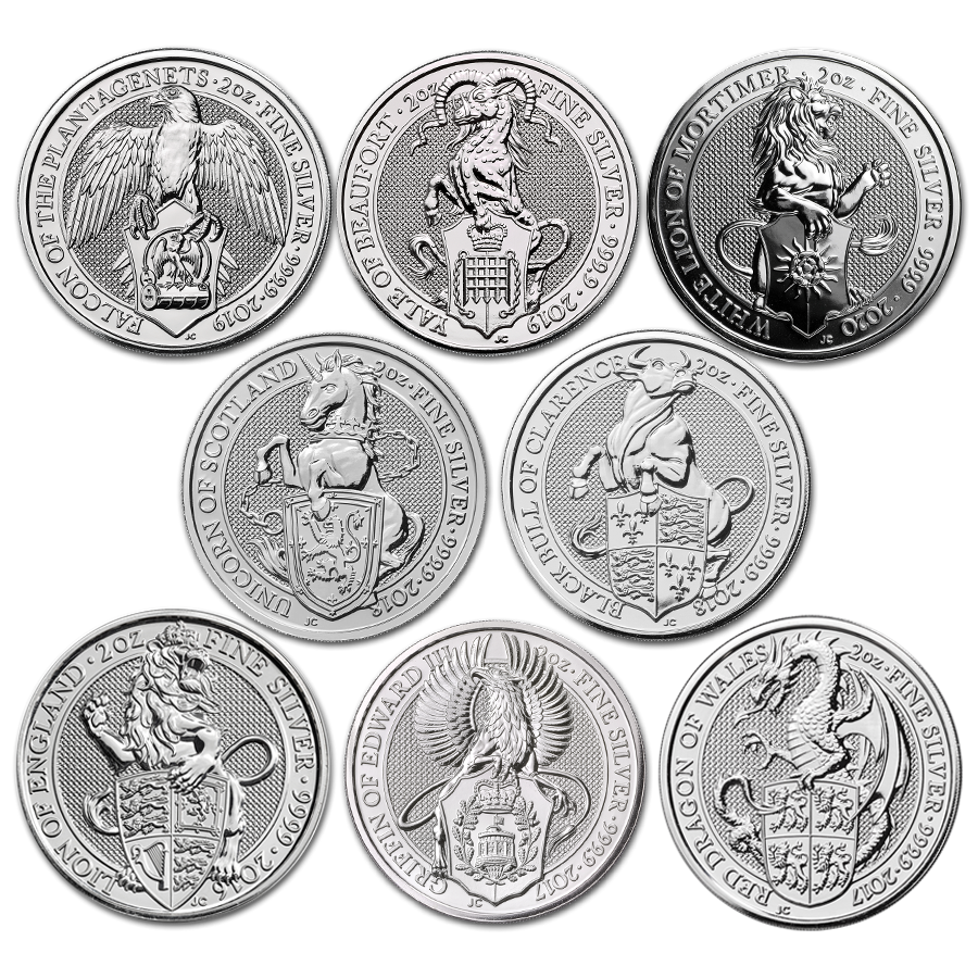 Pre-Owned 2016 - 2020 UK Queen's Beasts 2oz Silver Coin Collection (8 Coins) - VAT Free