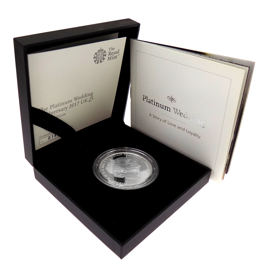 Pre-Owned 2017 UK Platinum Wedding Anniversary £5 Proof Silver Coin - VAT Free (Image 1)