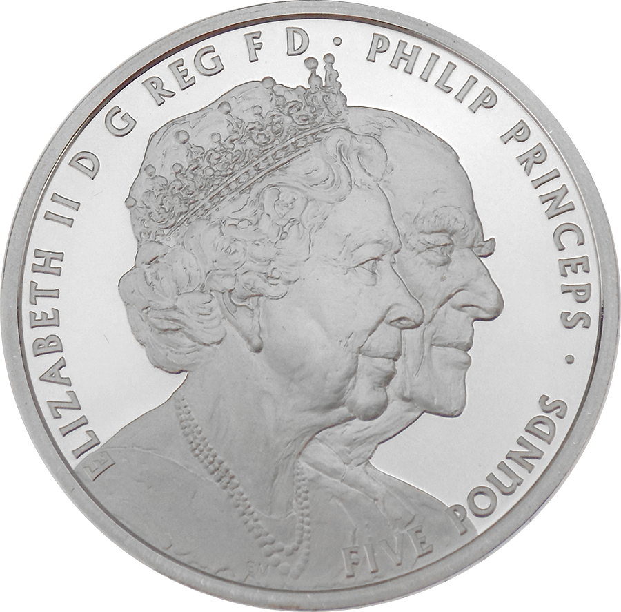 Pre-Owned 2017 UK Platinum Wedding Anniversary £5 Proof Silver Coin - VAT Free (Image 3)
