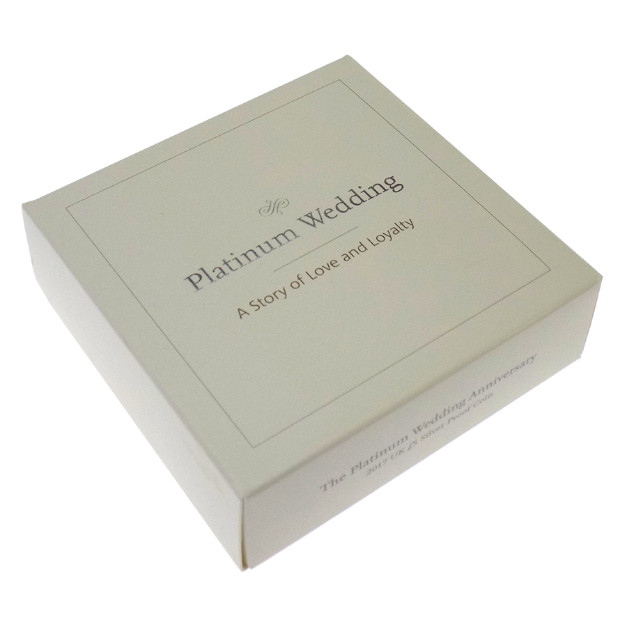 Pre-Owned 2017 UK Platinum Wedding Anniversary £5 Proof Silver Coin - VAT Free (Image 4)