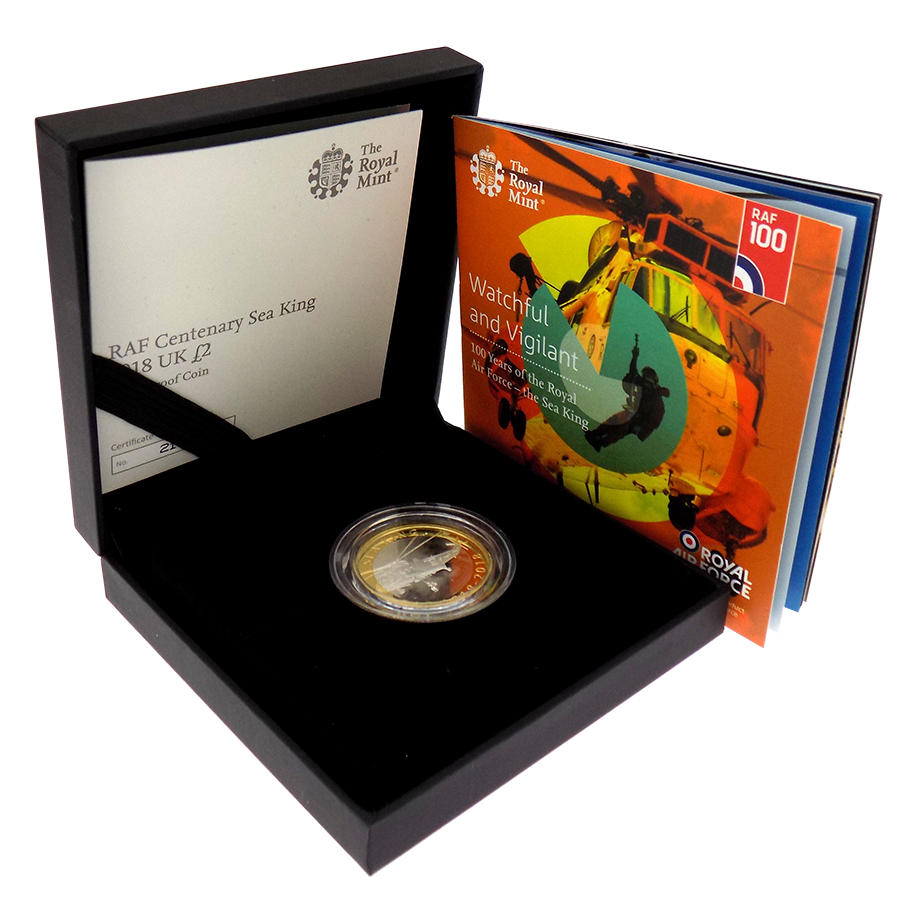 Pre-Owned 2018 UK RAF Centenary Sea King £2 Silver Proof Coin - VAT Free