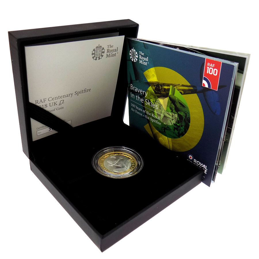 Pre-Owned 2018 UK RAF Centenary Spitfire £2 Silver Proof Coin - VAT Free