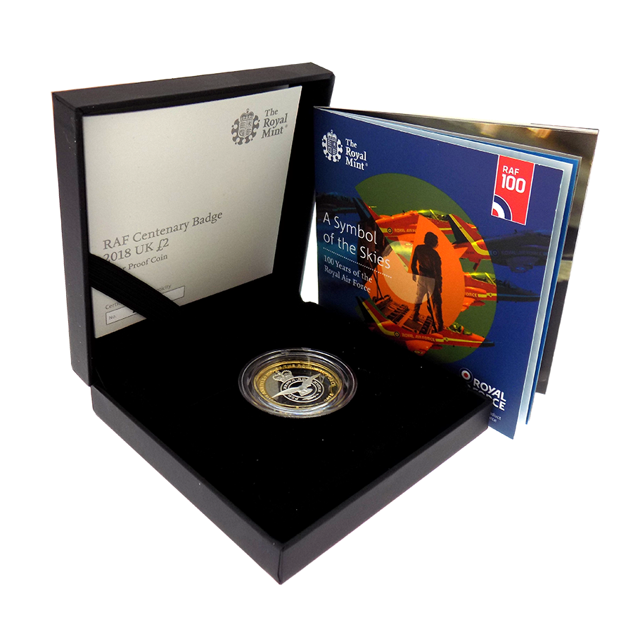 Pre-Owned 2018 UK RAF Centenary Badge £2 Silver Proof Coin - VAT Free (Image 1)