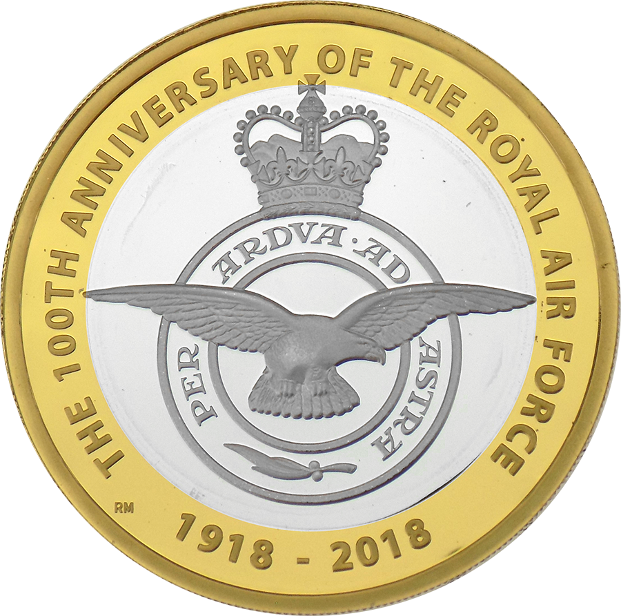Pre-Owned 2018 UK RAF Centenary Badge £2 Silver Proof Coin - VAT Free (Image 2)