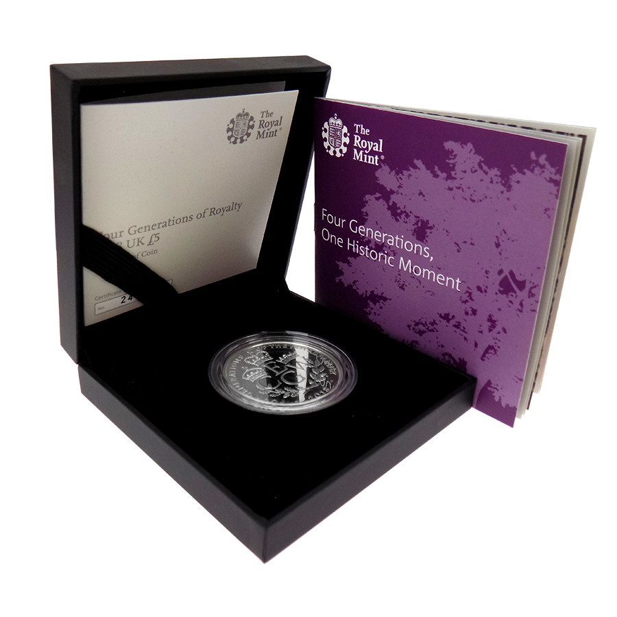 Pre-Owned 2018 UK Four Generations of The Royal Family £5 Silver Proof Coin - VAT Free