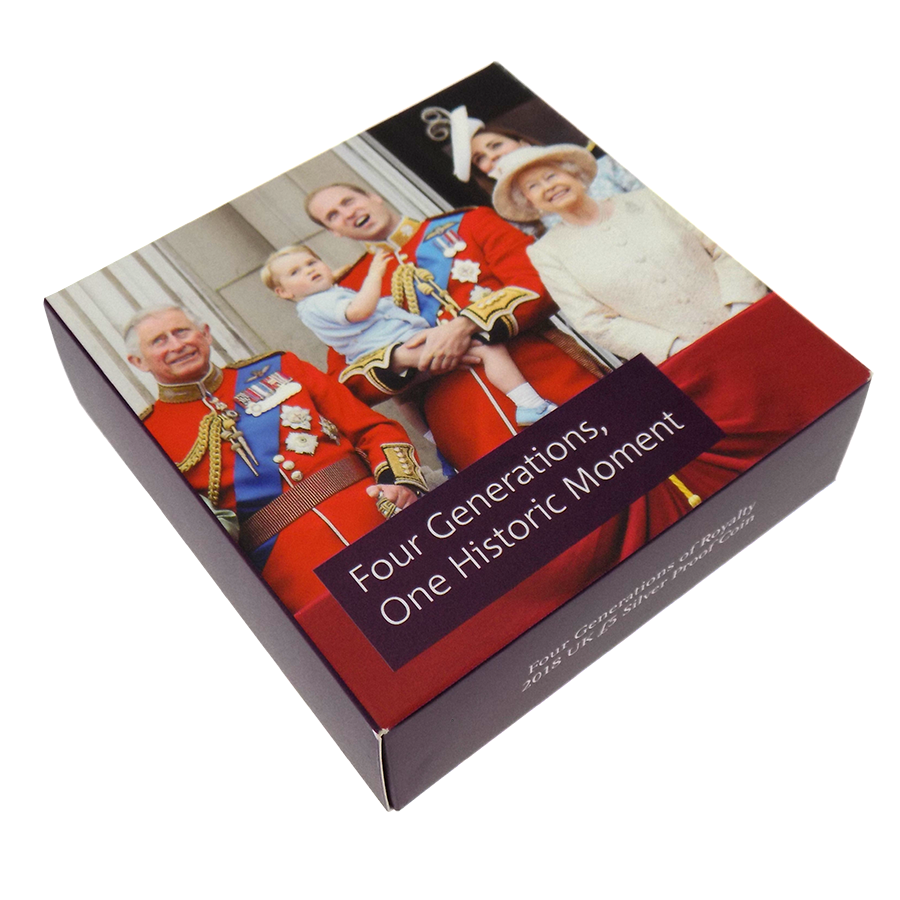 Pre-Owned 2018 UK Four Generations of The Royal Family £5 Silver Proof Coin - VAT Free (Image 4)