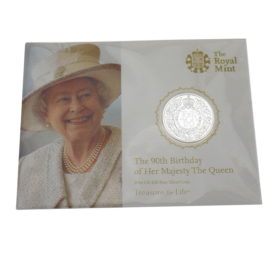 Pre-Owned 2016 UK The Queens 90th Birthday £20 Fine Silver Coin - VAT Free