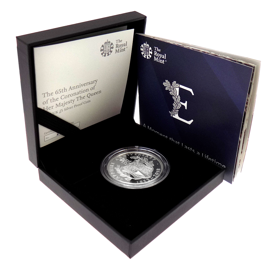 Pre-Owned 2018 UK 65th Anniversary Coronation £5 Silver Proof Coin - VAT Free (Image 1)