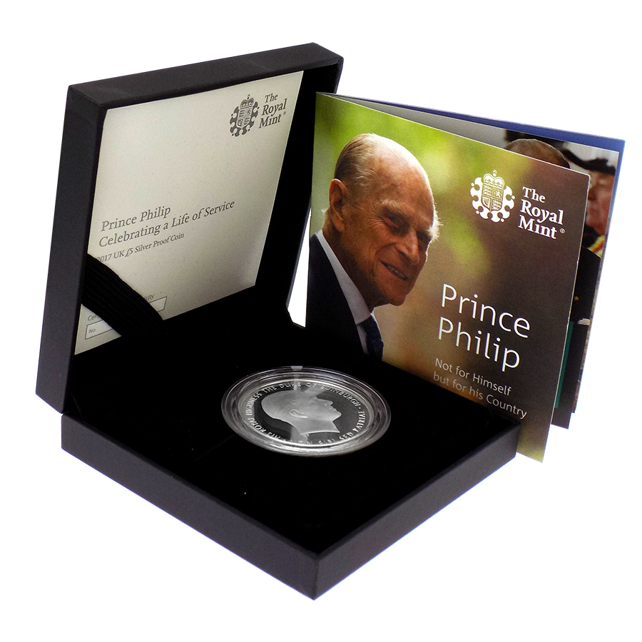 Pre-Owned 2017 UK Prince Philip Life Of Service £5 Proof Piedfort Silver Coin - VAT Free (Image 1)