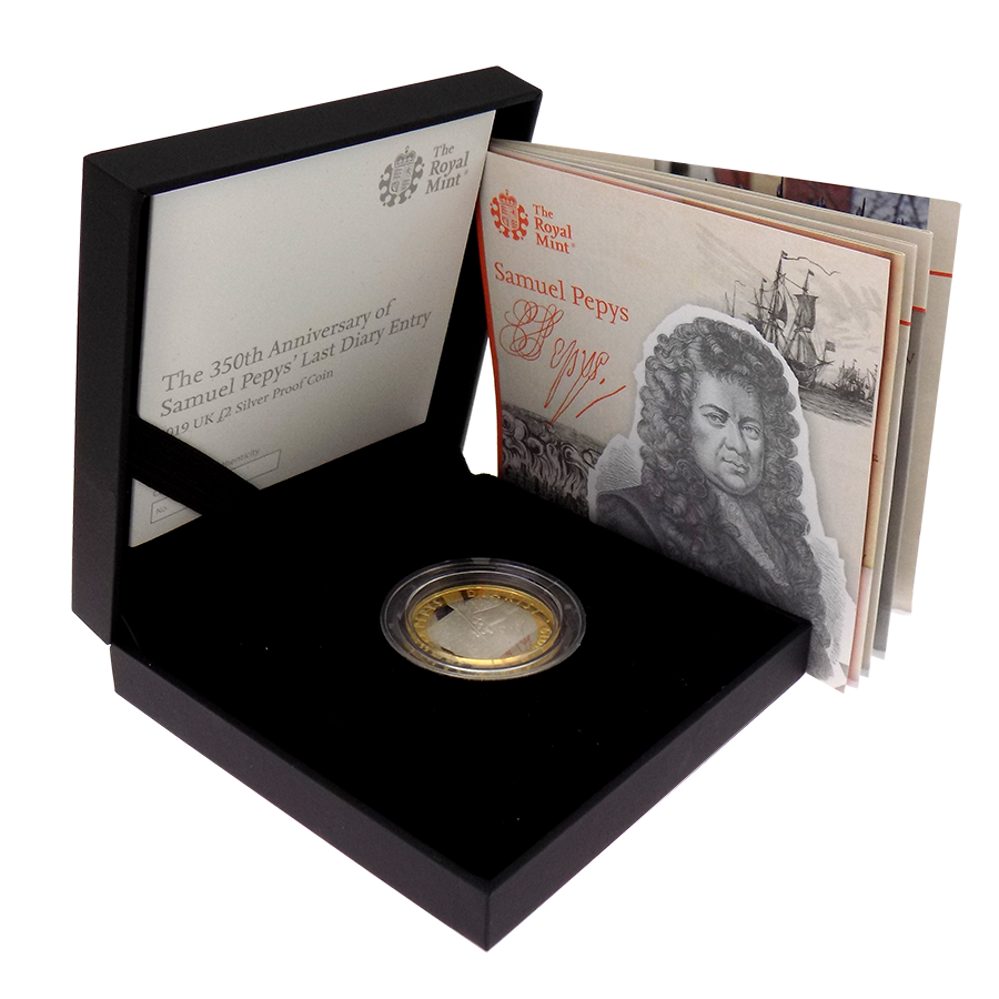Pre-Owned 2019 UK Samuel Pepys £2 Silver Proof Coin - VAT Free