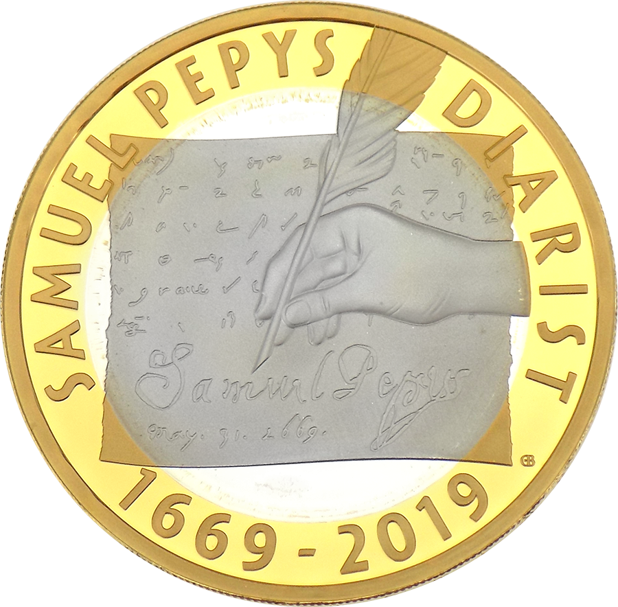 Pre-Owned 2019 UK Samuel Pepys £2 Silver Proof Coin - VAT Free (Image 2)