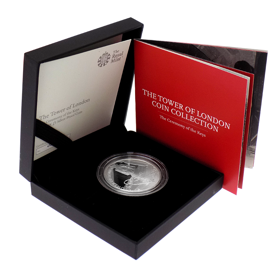 Pre-Owned 2019 UK Tower Of London: Ceremony Of The Keys £5 Silver Proof Coin - VAT Free
