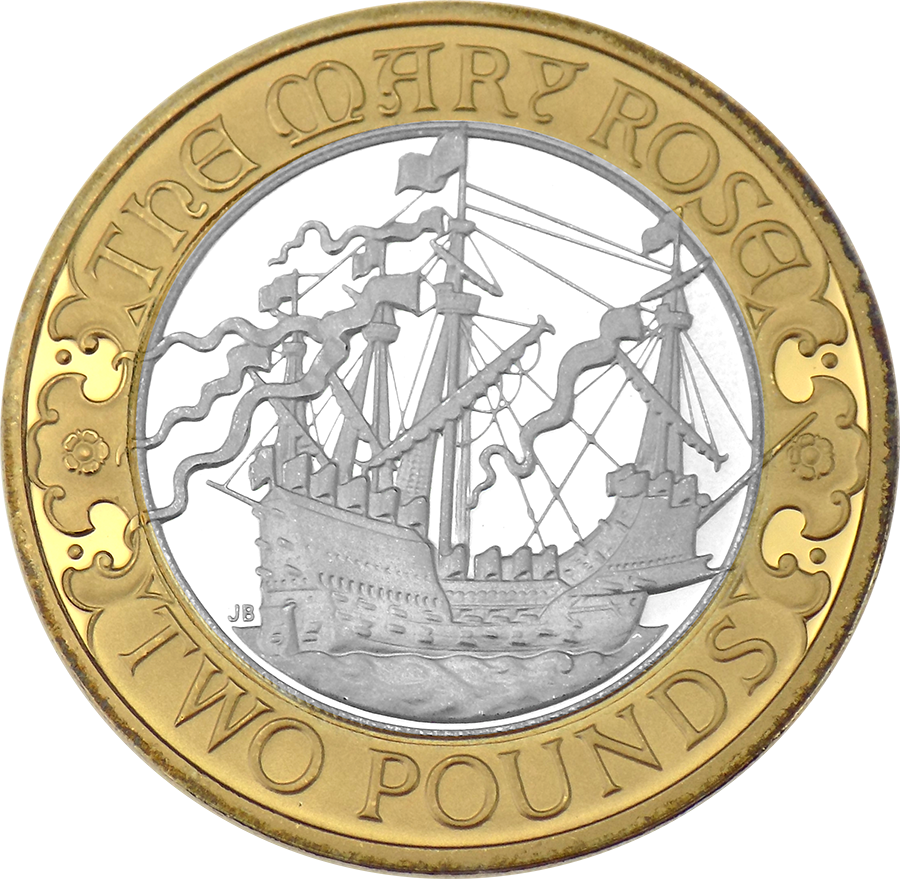 Pre-Owned 2011 UK 500th Anniversary Of The Mary Rose £2 Silver Piedfort Proof Coin - VAT Free (Image 2)