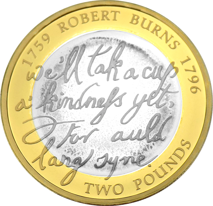 Pre-Owned 2009 UK Robert Burns £2 Proof Silver Coin - VAT Free (Image 2)