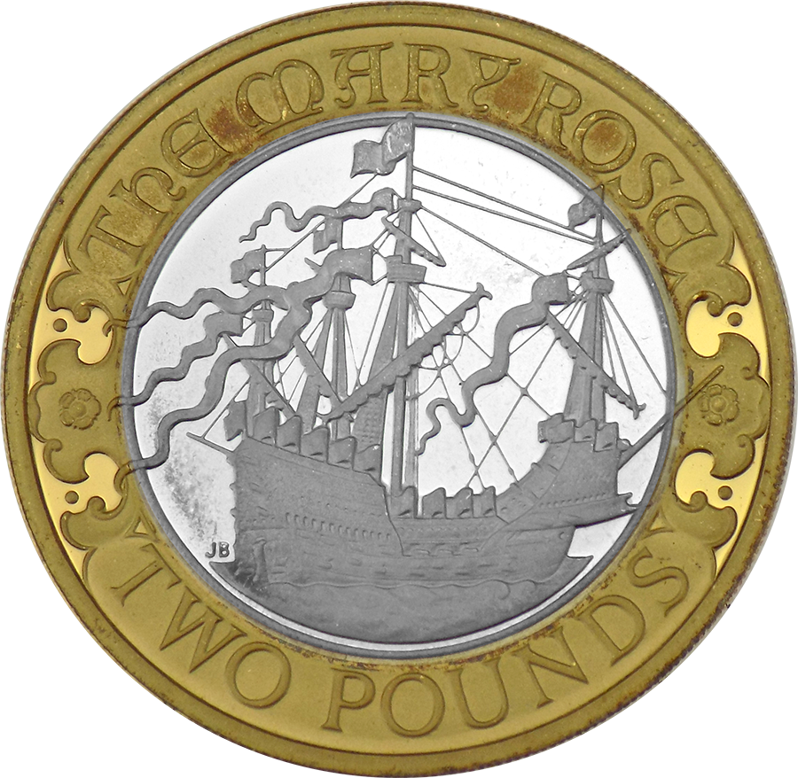 Pre-Owned 2011 UK 500th Anniversary Of The Mary Rose £2 Silver Proof Coin - VAT Free (Image 2)