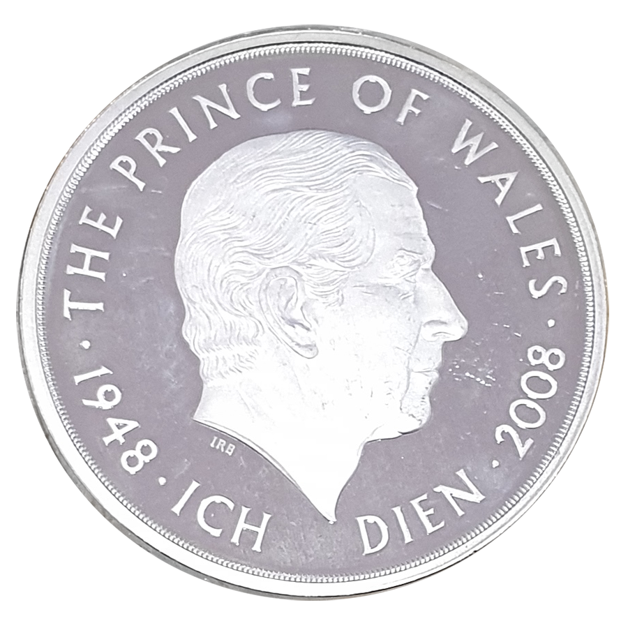 Pre-Owned 2008 UK The Prince Of Wales £5 Silver Proof Piedfort Crown Coin - VAT Free (Image 2)