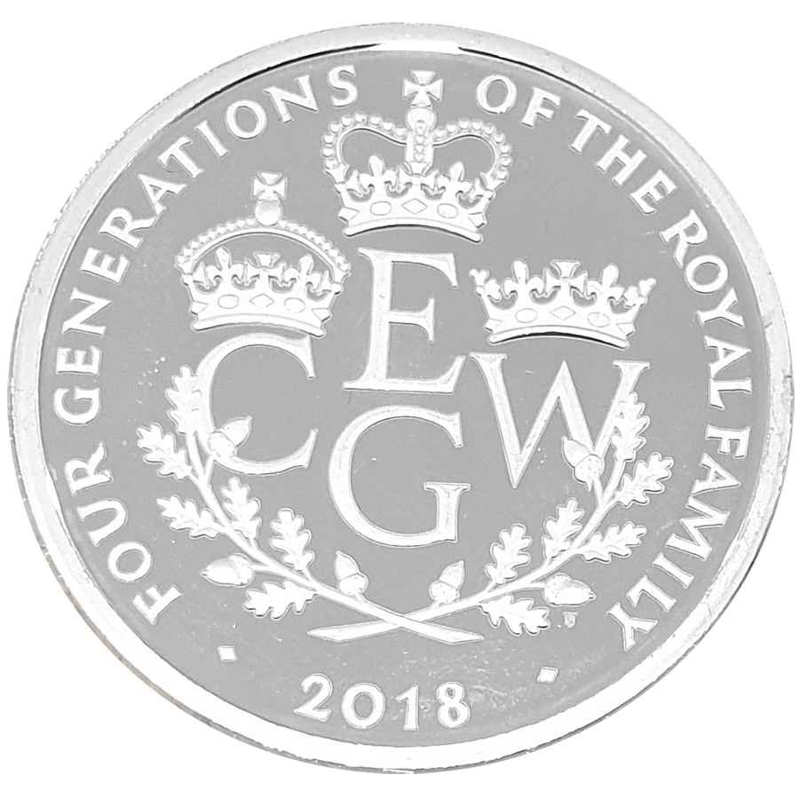 Pre-Owned 2018 UK Four Generations of The Royal Family £5 Silver Proof Piedfort Coin - VAT Free (Image 2)