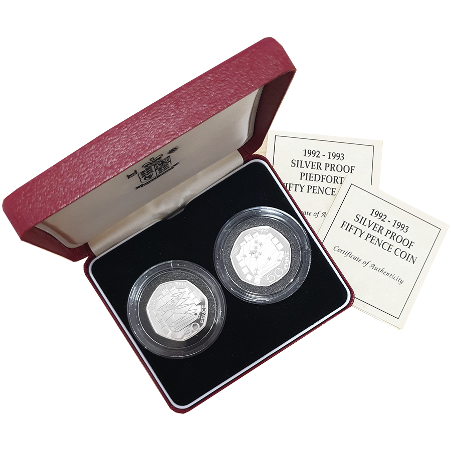 Pre-Owned UK 1992-1993 Proof 50p & Proof Piedfort 50p Silver 2-Coin Set - VAT Free