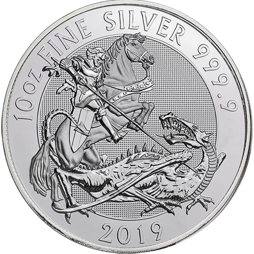 Pre-owned 2019 Royal Mint Valiant 10oz Silver Coin - VAT Free