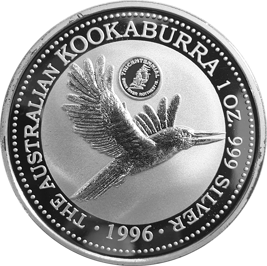 Pre-Owned 1996 Australia Kookaburra Swan River Privy Mark 1oz Silver Coin - VAT Free