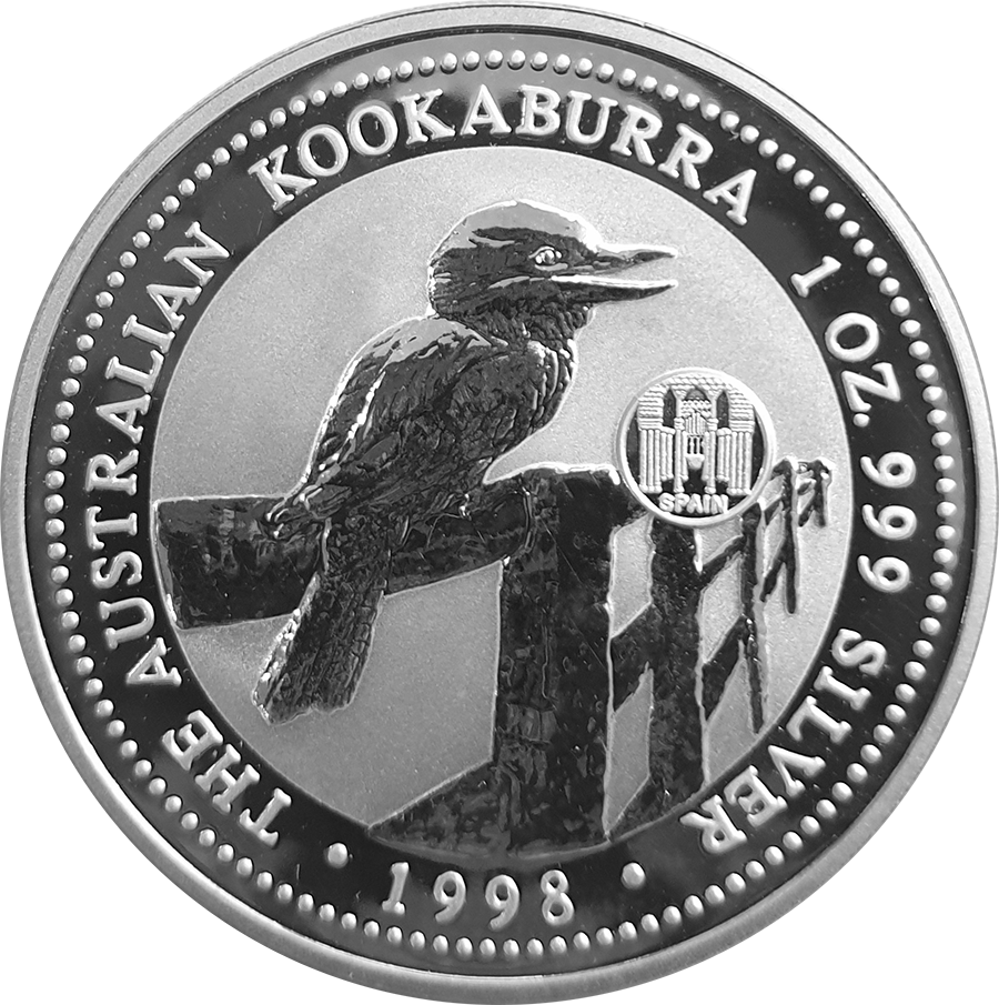 Pre-Owned 1998 Australia Kookaburra Spain Privy Mark 1oz Silver Coin - VAT Free