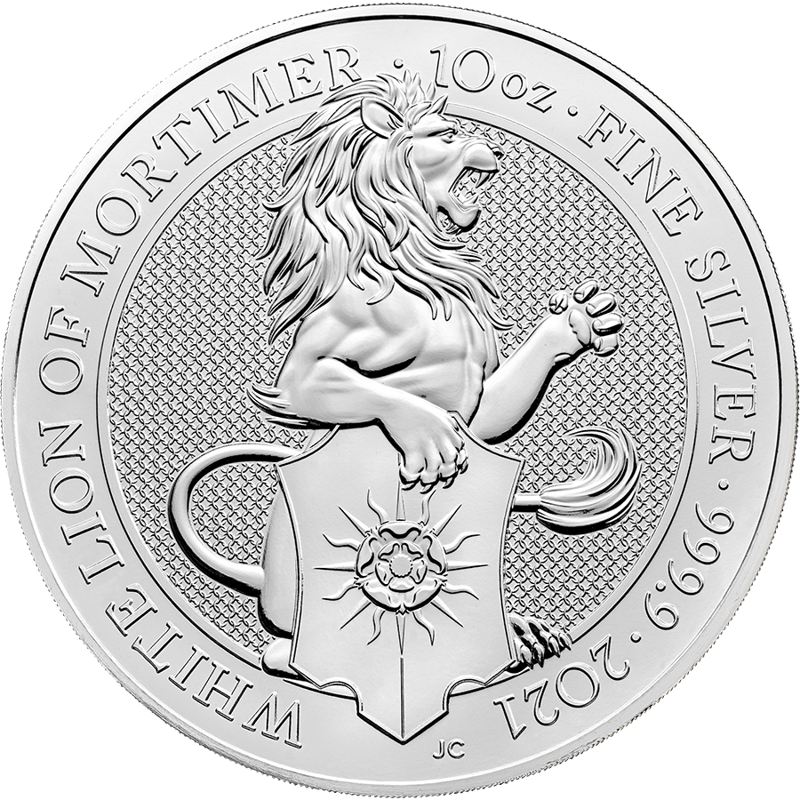 2021 UK Queen's Beasts The White Lion of Mortimer 10oz Silver Coin