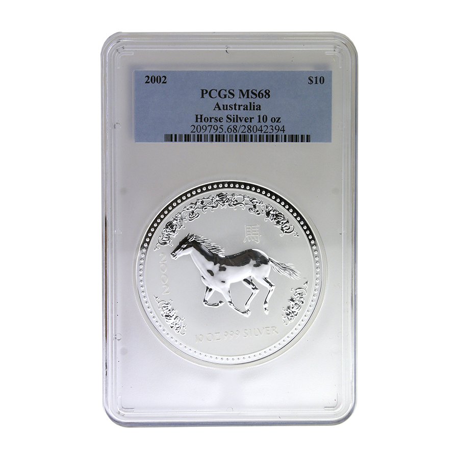 Pre-Owned 2002 Lunar Horse 10oz Silver Coin- PCGS Graded MS68 - 209795.68/28042394 - VAT Free