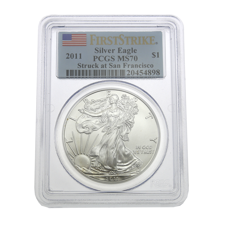 Pre-Owned 2011 USA 1oz Eagle Silver Coin - PCGS Graded MS70 - Mixed Serial No' - VAT Free