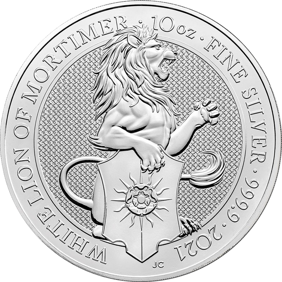 2021 UK Queen's Beasts The White Lion of Mortimer 10oz Silver Coin - Broken Capsule