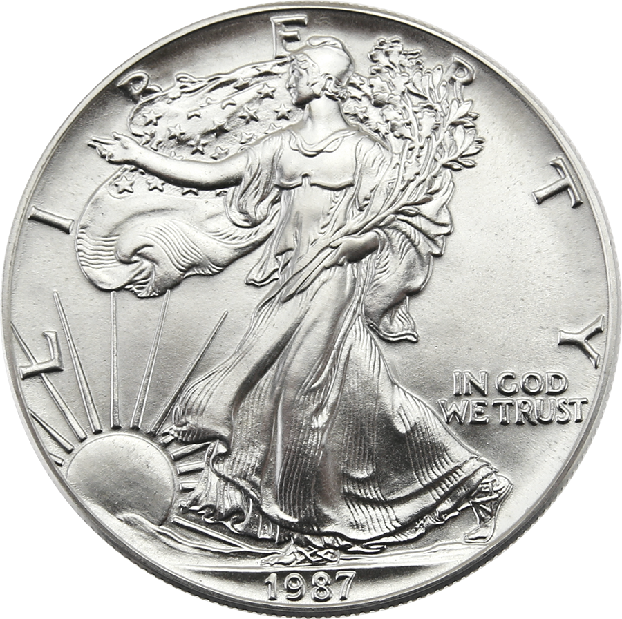 Pre-Owned 1987 USA Eagle 1oz Silver Coin - VAT Free