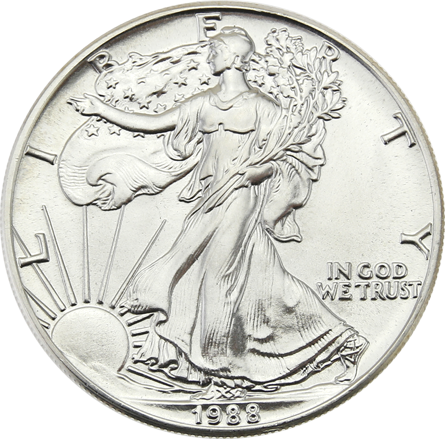 Pre-Owned 1988 USA Eagle 1oz Silver Coin - VAT Free