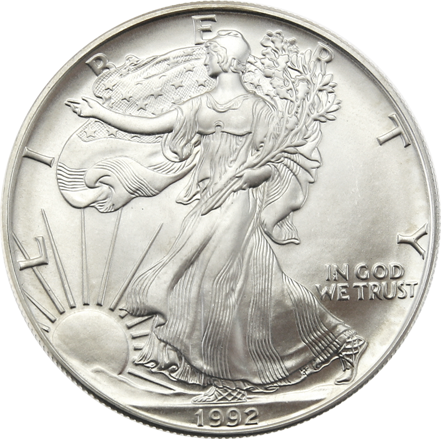 Pre-Owned 1992 USA Eagle 1oz Silver Coin - VAT Free