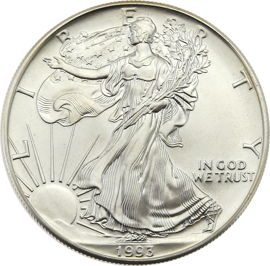 Pre-Owned 1993 USA Eagle 1oz Silver Coin - VAT Free