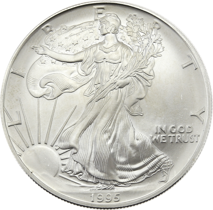 Pre-Owned 1995 USA Eagle 1oz Silver Coin - VAT Free