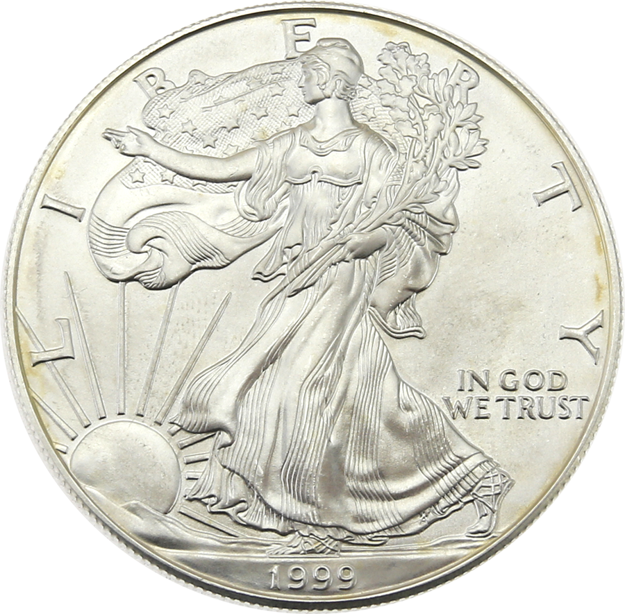 Pre-Owned 1999 USA Eagle 1oz Silver Coin - VAT Free